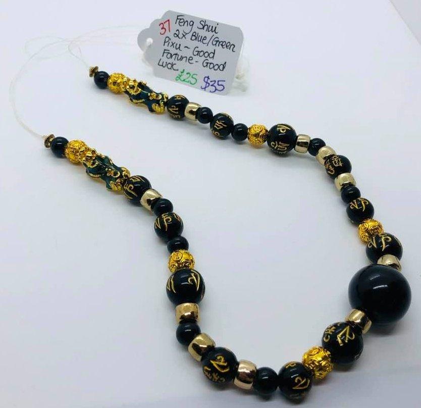 Feng Shui 2x Blue Green Pixu Necklace