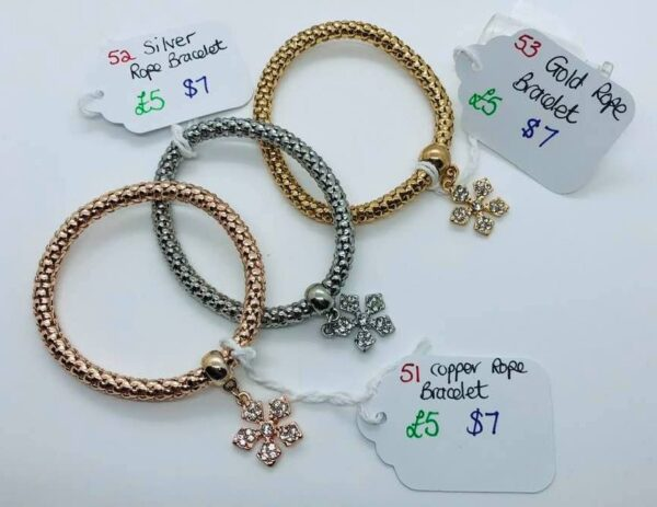 Silver, Gold, or Copper Rope Bracelet