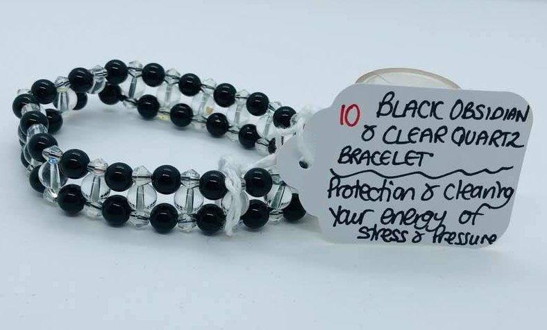 Black Obsidian and Clear Quartz Bracelet