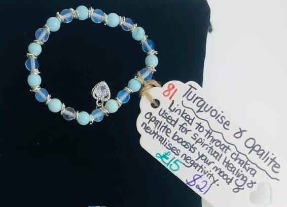 Turquoise & Opalite Throat Chakra Bracelet